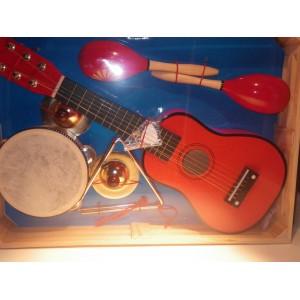Grossiste Coffret Instruments de musique enfant GUITARE TAMBOURIN TRIANGLE MARAKAS CYMBALE