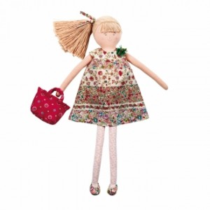 Jouet Grande poupee robe a fleur rouge liberty 50 cm