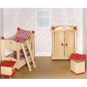 Jouet Meuble pour maison de poupees articulees : Chambre a coucher Enfants