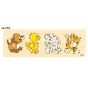 Jouet Puzzle 4 animaux : chien canard lapin chat