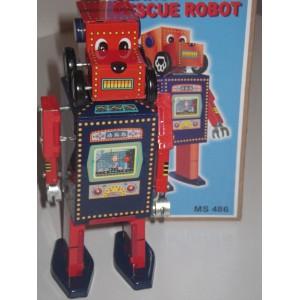 Jouet Robot tete de chien bleu et rouge